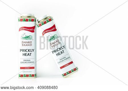 Bangkok, Thailand - Feb 21, 2021: Snake Brand Prickly Heat Cooling Powder, Refreshing Powder Which I
