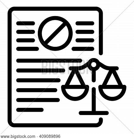 Judge Documents Icon. Outline Judge Documents Vector Icon For Web Design Isolated On White Backgroun