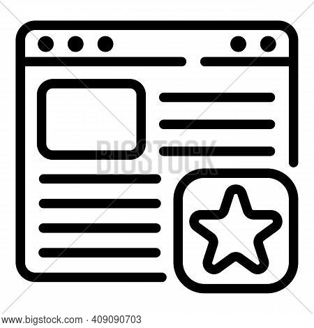 Favorite Web Page Icon. Outline Favorite Web Page Vector Icon For Web Design Isolated On White Backg