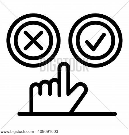 Choose Like Or Dislike Icon. Outline Choose Like Or Dislike Vector Icon For Web Design Isolated On W