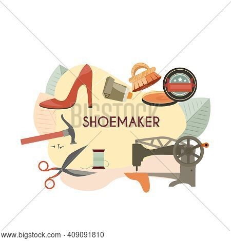 Footwear Designer Shoemaker Shop Flat Composition With Isolated Images Of Shoe Making Equipment Vect