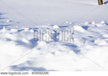 Snow. Winter Sunny Day. A Pile Of Snow Plays With Sparks In The Sun. Snowy White Clean Field. Winter