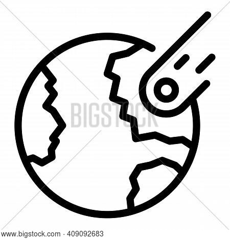 Earth Planet Comet Icon. Outline Earth Planet Comet Vector Icon For Web Design Isolated On White Bac