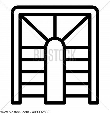 Building Staircase Icon. Outline Building Staircase Vector Icon For Web Design Isolated On White Bac