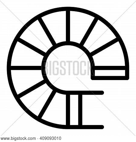Top View Circular Stairs Icon. Outline Top View Circular Stairs Vector Icon For Web Design Isolated