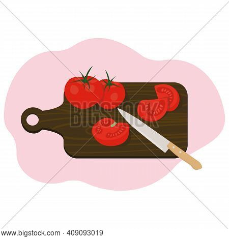 Tomatoes On A Dark Board, Chopped Tomatoes, Tomato Slices, A Tomato Knife, Several Cut And Whole Tom
