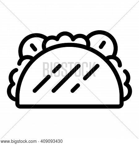 Taco Cuisine Icon. Outline Taco Cuisine Vector Icon For Web Design Isolated On White Background