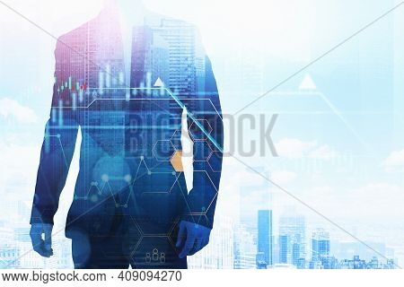 Businessman And City Skyscrapers On Background, Graphs And Candlesticks Toned, Network Hologram. Con