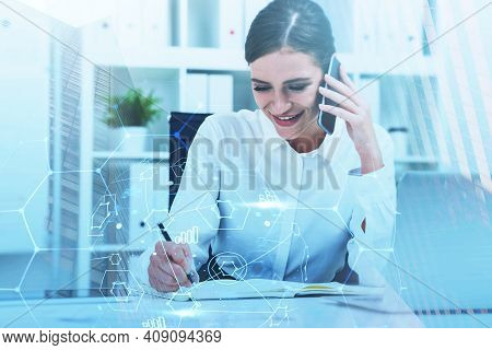 Business Woman Writing Down Some Figures Based On Phone Conversation. Double Exposure. The Concept O