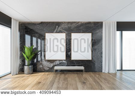 Mockup Two Canvas Frame In Wooden And Black Marble Living Room, White Bench On Wooden Parquet Floor.