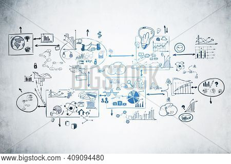 Creative Business Strategy And Planning Sketch Drawn In A Mind Map Style On Concrete Wall. Concept O
