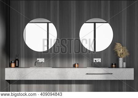 Dark Grey Bathroom With Two Sinks And Mirrors, Front View. Minimalist Dark Grey Design Of Modern Har