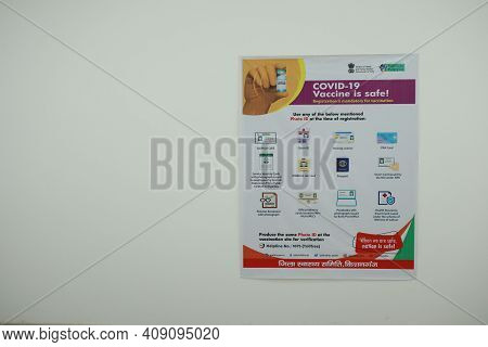February 20, 2021, Kishanganj, Bihar, India. A Poster For Covid 19 Vaccination Issued By Government