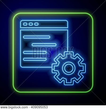 Glowing Neon Computer Api Interface Icon Isolated On Blue Background. Application Programming Interf