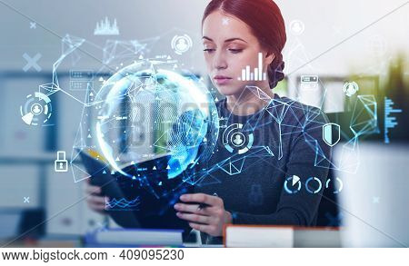 Woman Standing With Notebook In Hands, Earth Globe Double Exposure On Foreground. Woman In Casual Cl
