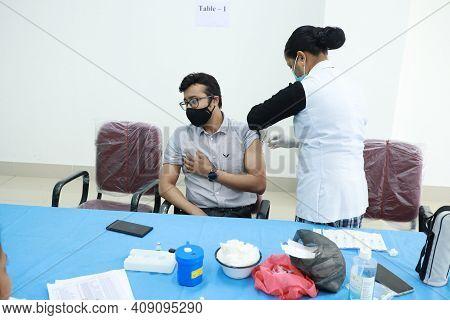 February 20, 2021, Kishanganj, Bihar, India. Health Worker Receives Covid 19 Vaccination Second Inje