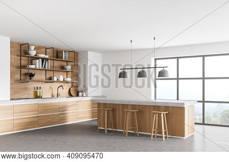 White Modern Kitchen Near Window. Dining Area With Wooden Countertop. Concrete Floor. Panoramic Wind