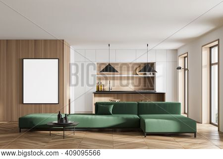 Mockup Canvas Frame In White And Wooden Kitchen Room With Green Sofa And Table With Bar Chairs On Pa
