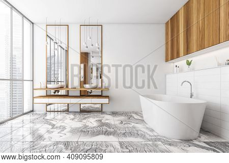 White And Wooden Bathroom With Two Sinks, White Bathtub On Tiled Marble Floor, Side View. White Styl