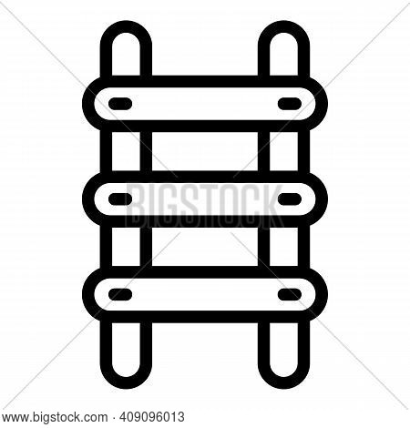 Climb Step Ladder Icon. Outline Climb Step Ladder Vector Icon For Web Design Isolated On White Backg