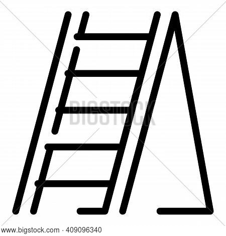 Folding Ladder Icon. Outline Folding Ladder Vector Icon For Web Design Isolated On White Background