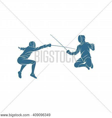Fencing Sport Player Design Vector Illustration, Creative Fencing Sport Logo Template, Icon Symbol