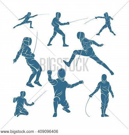 Set Of Fencing Sport Player Design Vector Illustration, Creative Fencing Sport Logo Template, Icon S