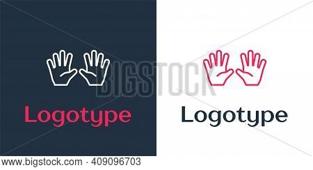 Logotype Line Medical Rubber Gloves Icon Isolated On White Background. Protective Rubber Gloves. Log