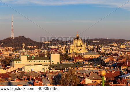 Aerial View Of St. George's Cathedral And Old Town Of Lviv In Ukraine. Lvov Cityscape. View From Bel