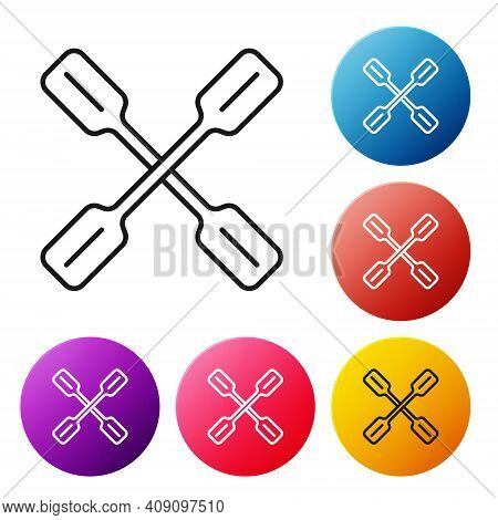 Black Line Paddle Icon Isolated On White Background. Paddle Boat Oars. Set Icons Colorful Circle But