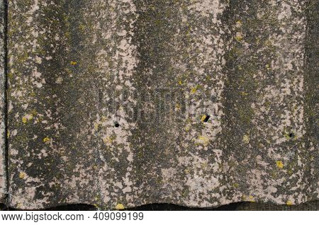 Abstract Texture Of Gray Roofing Slate With Waves And Gradient. Old Dirty Slate Sheet Covered With L