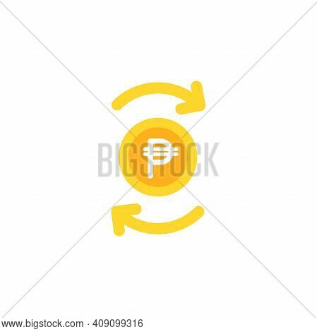 Two Gold Round Arrows With Golden Peso Coin. Flat Icon. Isolated On White. Currency Exchange Icon. E