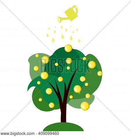 Green Tree With Gold Coins Pouring By Gold Watering Can. Money Tree Isolated On White Background. Ve
