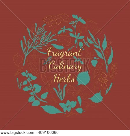 Fragrant Culinary Herbs Poster With Cricle Composition Made By Filled And Contoured Herbals. Hand Dr
