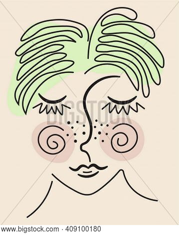 Young Woman Vector Image Abstract Face Line Drawing. Portrait With Blush And Freckles On Face Minima