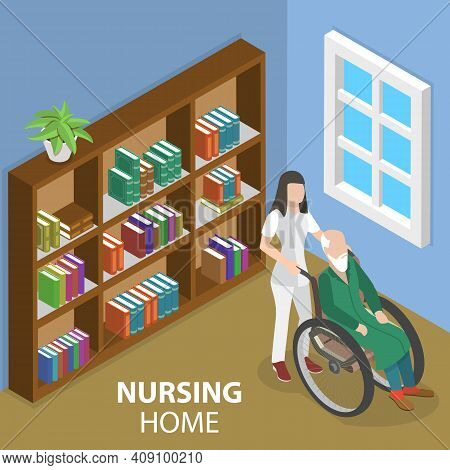 3d Isometric Flat Vector Conceptual Illustration Of Nursing Home Care.
