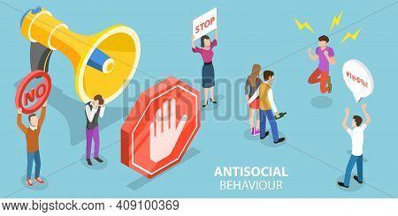 3d Isometric Flat Vector Conceptual Illustration Of Antisocial Behaviour.