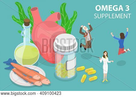 3d Isometric Flat Vector Conceptual Illustration Of Omega 3 Supplement.