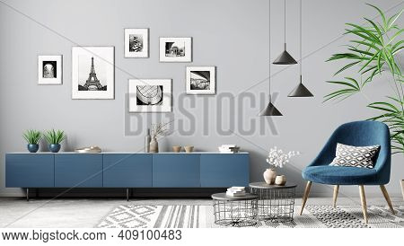 Modern Interior Of Living Room With Blue Sideboard And Armchair Home Design 3d Rendering