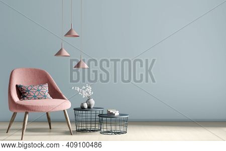 Interior Of Living Room With Coffee Tables, Lamps And  Pink Armchair Over Blue Wall, Home Design 3d