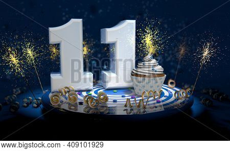 Cupcake With Sparkling Candle For 11th Birthday Or Anniversary With Big Number In White With Yellow