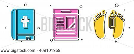 Set Holy Bible Book, Obituaries And Dead Body Icon. Vector