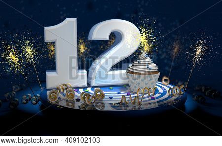 Cupcake With Sparkling Candle For 12th Birthday Or Anniversary With Big Number In White With Yellow