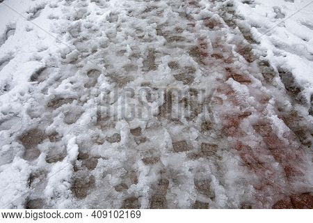 Shoeprints In Melting Snow - Athens, Greece, 15th Of February 2021.