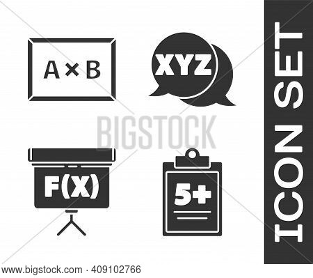 Set Test Or Exam Sheet, Chalkboard, Chalkboard And Xyz Coordinate System Icon. Vector