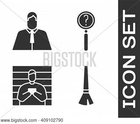 Set Paint Brush, Lawyer, Attorney, Jurist, Suspect Criminal And Magnifying Glass With Search Icon. V