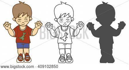 A Preschool Boy Standing With His Hands Up And Eyes Closed In A T-shirt With A Dinosaur Shorts And S