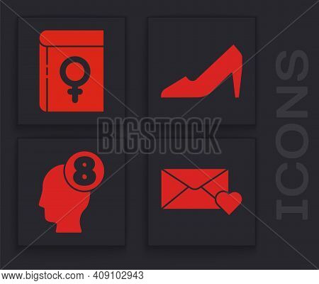 Set Envelope With 8 March, Book About Women, Woman Shoe And 8 March In Human Head Icon. Vector