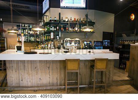 Spain, Barcelona, September, 2020: Restaurant And Bar Interior In Barcelona. Modern European Small C