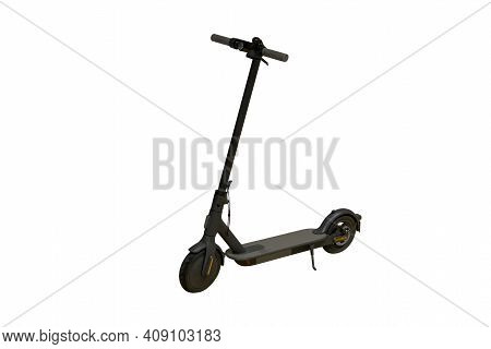 Black Electric Scooter Isolated On White Background